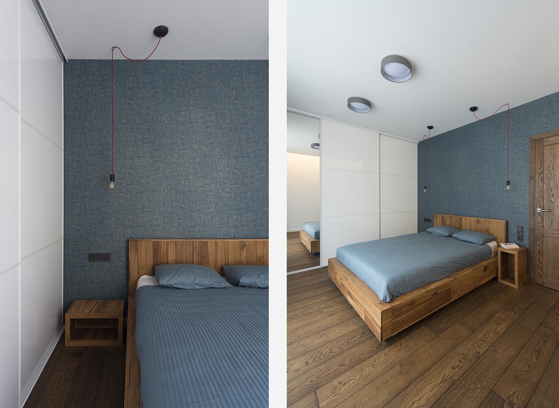 Miegamasis-mėlynas-tapetas-ąžuolas-balta-spinta-natūralus-modernus